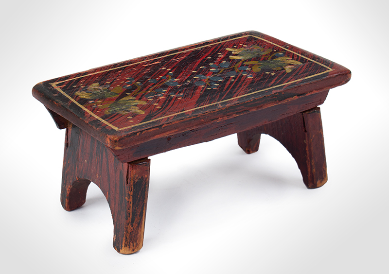 Miniature Foot Stool, Cricket, Fine Painted Decoration Against Black & Red Faux Graining Probably Maine, entire view 1