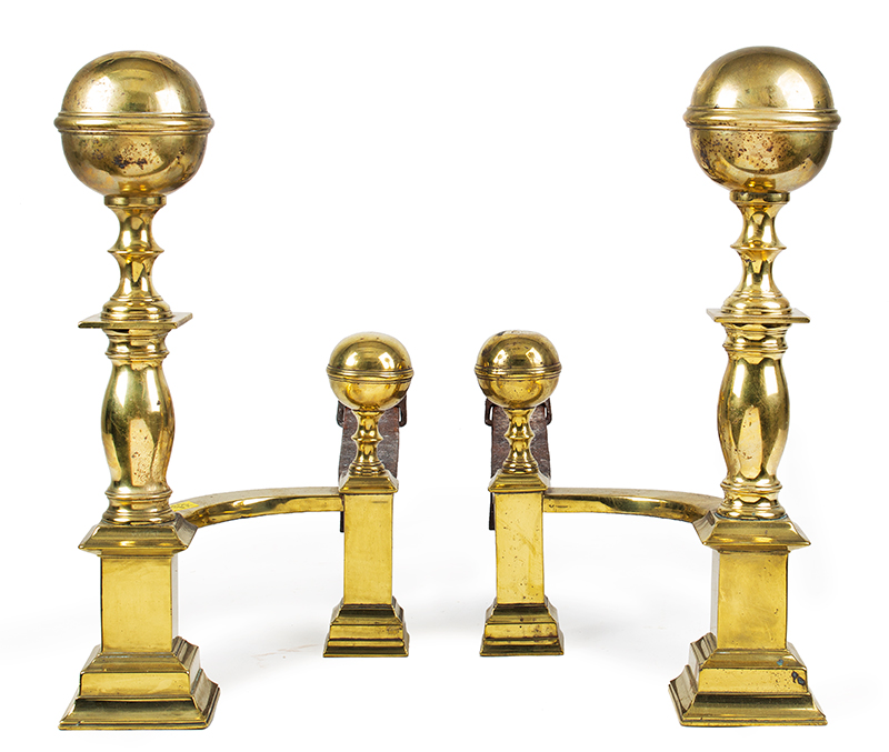 Brass Andirons, Signed Molineux – Boston, Ball Top, Square Plinths, entire view 1