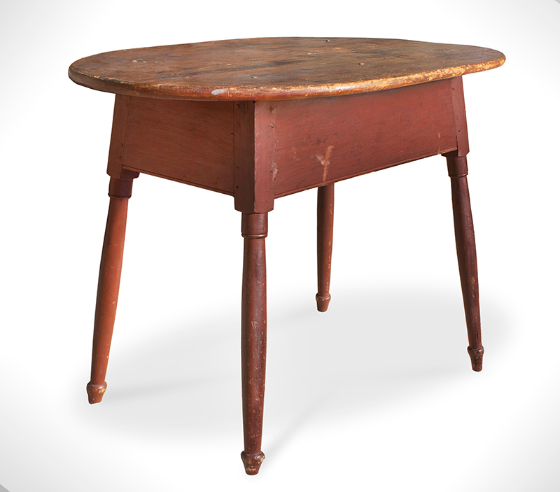 Country Queen Anne Tea table, Original Red Paint, entire view 1