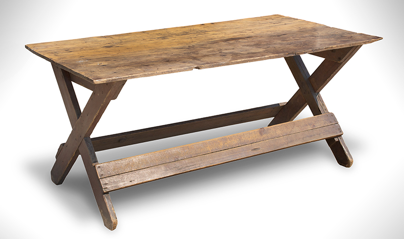 Antique Sawbuck Table, Large Size, Original Surface, Two Board Top York County, Pennsylvania, entire view 1