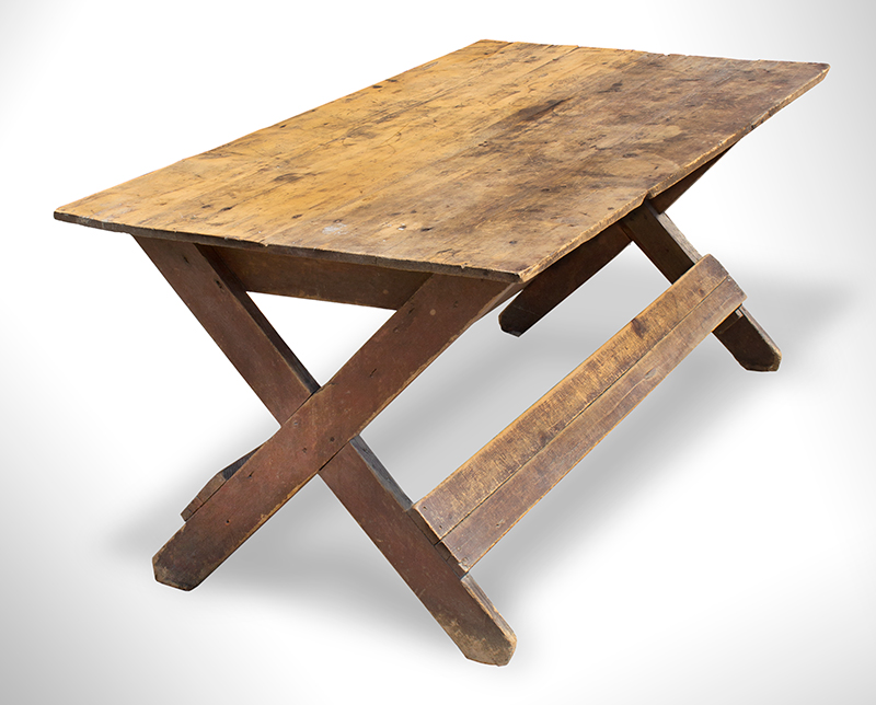 Antique Sawbuck Table, Large Size, Original Surface, Two Board Top York County, Pennsylvania, entire view 2