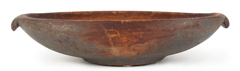 Carved and Painted Large Wooden Bowl, Turtle Head Handles, Original Paint Possibly New York, entire view