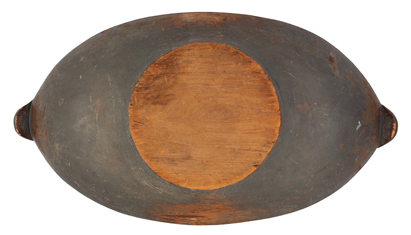 Carved and Painted Large Wooden Bowl, Turtle Head Handles, Original Paint Possibly New York, entire view 3