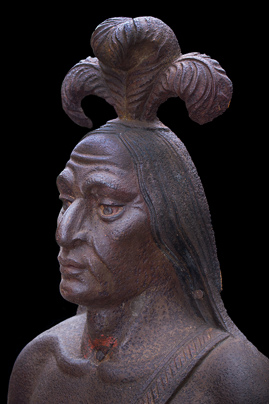 Cast Iron Figure of Native American, Traces of Original Paint, Rare, head view 1