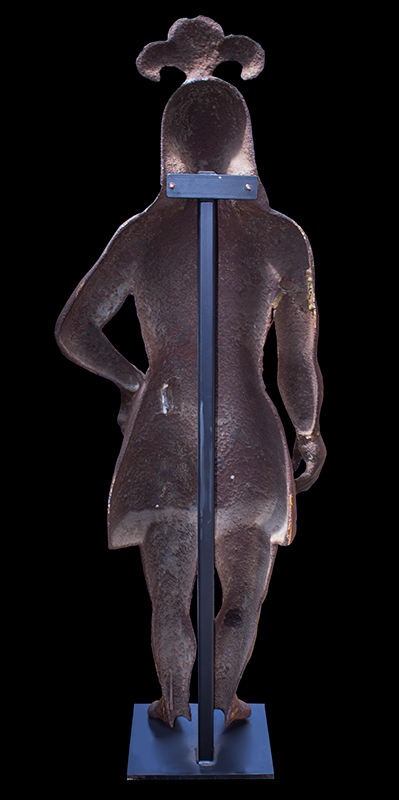 Cast Iron Figure of Native American, Traces of Original Paint, Rare, back view