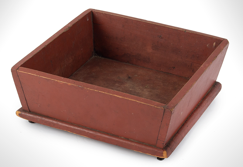 Apple Tray, Box Raised on Cast Iron Button Feet, Great Original Paint and Patina New England or Pennsylvania, entire view 1