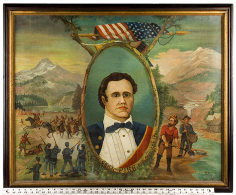 Portrait of General Zebulon Pike – Explorer, Surmounted…American Flag, Bugle, and Drum, scale view