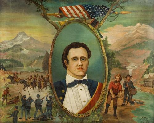 Portrait of General Zebulon Pike – Explorer, Surmounted…American Flag, Bugle, and Drum, entire view sans frame