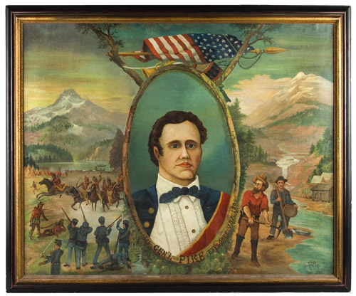Portrait of General Zebulon Pike – Explorer, Surmounted…American Flag, Bugle, and Drum, entire view