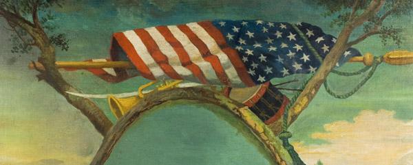 Portrait of General Zebulon Pike – Explorer, Surmounted…American Flag, Bugle, and Drum, detail view 1