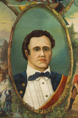 Portrait of General Zebulon Pike – Explorer, Surmounted…American Flag, Bugle, and Drum, detail view 2