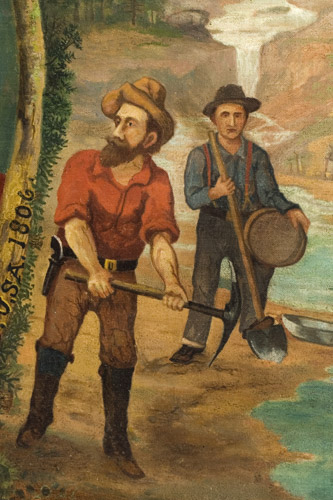Portrait of General Zebulon Pike – Explorer, Surmounted…American Flag, Bugle, and Drum, detail view 3
