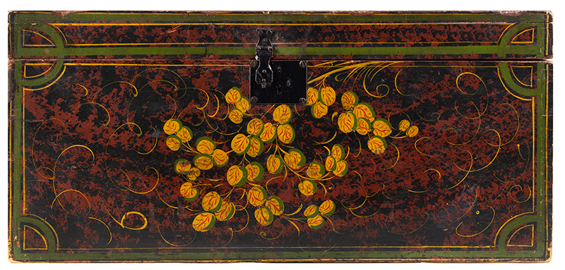 Paint Decorated Trunk, Flattop, Maine, Possibly Paris Hill, entire view 1
