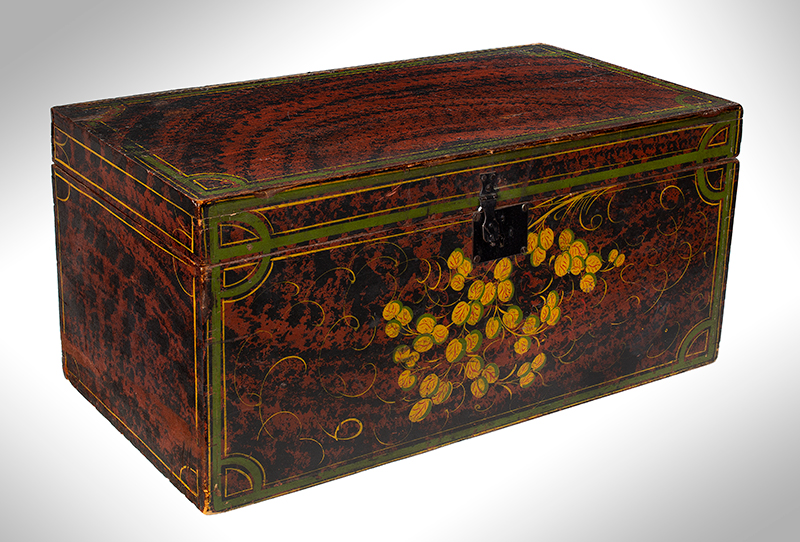 Paint Decorated Trunk, Flattop, Maine, Possibly Paris Hill, entire view 2