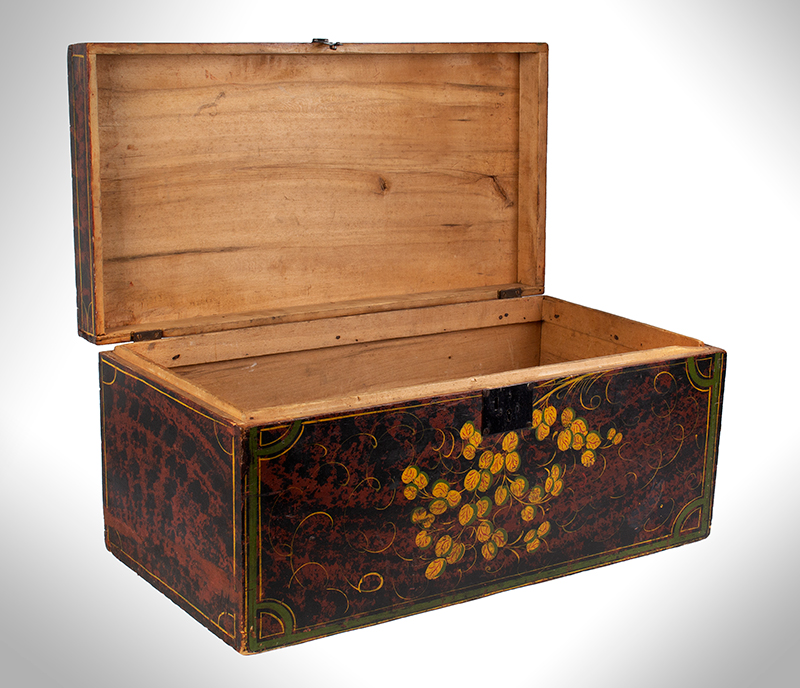 Paint Decorated Trunk, Flattop, Maine, Possibly Paris Hill, entire view 3