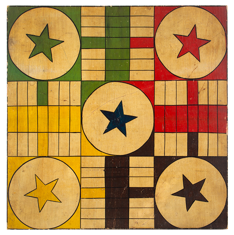Gameboard, Parcheesi, 5 Stars, 6 Colors, White Ground, Square Wood Panel, entire view 1