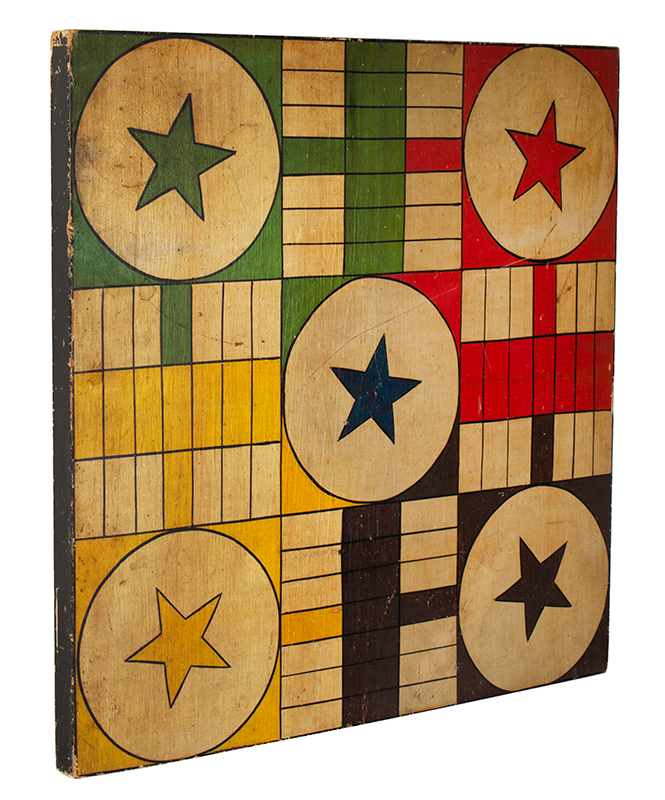 Gameboard, Parcheesi, 5 Stars, 6 Colors, White Ground, Square Wood Panel, entire view 2