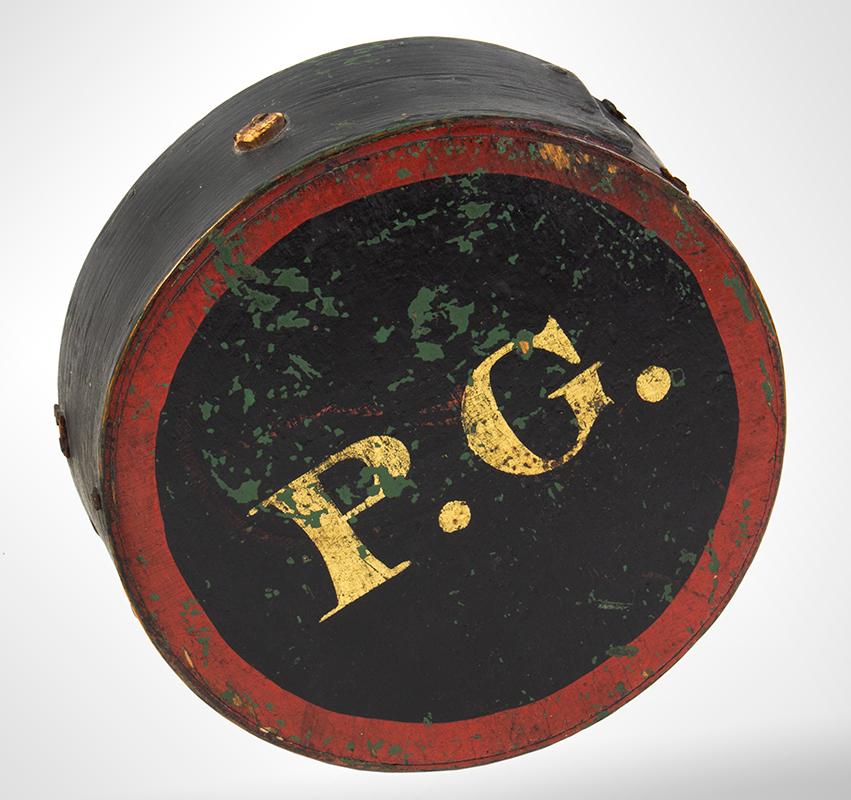 "Cheesebox Canteen, War of 1812 Period, Painted & Stenciled ""P.G."", Prescott Guards Pepperrell, Massachusetts, entire view 1"