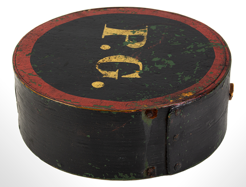 "Cheesebox Canteen, War of 1812 Period, Painted & Stenciled ""P.G."", Prescott Guards Pepperrell, Massachusetts, entire view 2"