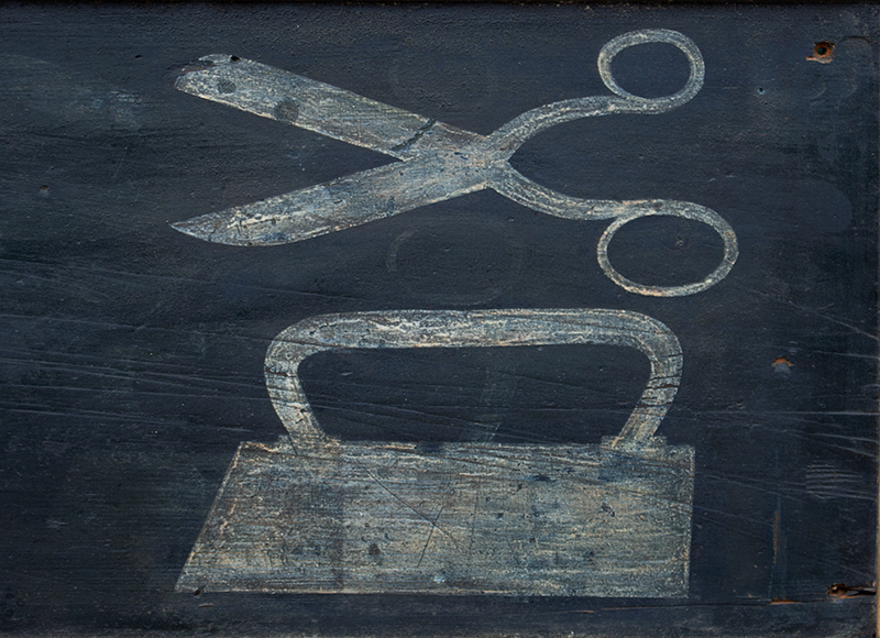 Antique Trade Sign, Tailor Shop, M.M. Brown, Scissors & Iron, America, detail view 1