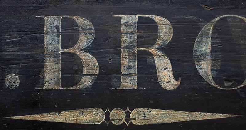 Antique Trade Sign, Tailor Shop, M.M. Brown, Scissors & Iron, America, detail view 2