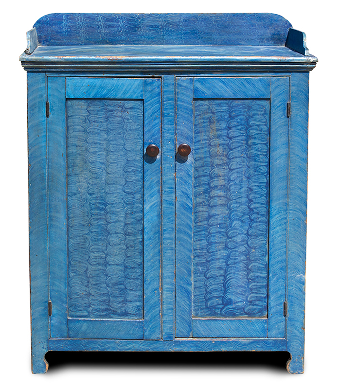 Outstanding Paint Decorated Jelly Cupboard, Blue, Pennsylvania, entire view 1