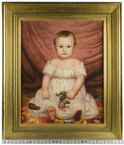 Nineteenth Century American School Portrait of Child Anonymous, scale view