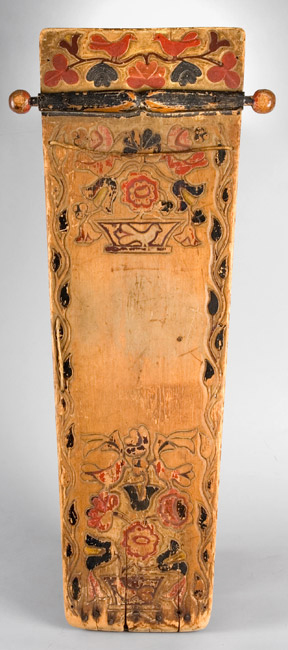 Mohawk Carved and Painted Wood Cradle Board, Flower, Leaf & Bird Motif New York, Iroquois, entire view