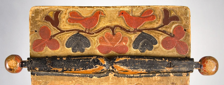 Mohawk Carved and Painted Wood Cradle Board, Flower, Leaf & Bird Motif New York, Iroquois, detail view 1
