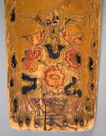 Mohawk Carved and Painted Wood Cradle Board, Flower, Leaf & Bird Motif New York, Iroquois, detail view 2