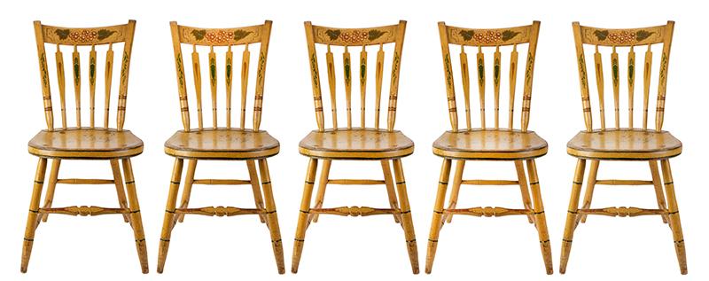 Windsor Chairs, Arrow Back, Original Paint, Set of Five New York, set view