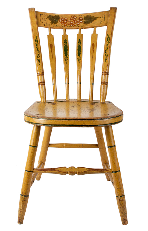 Windsor Chairs, Arrow Back, Original Paint, Set of Five New York, entire view 1