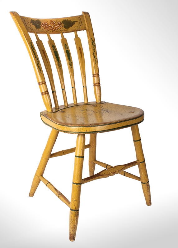 Windsor Chairs, Arrow Back, Original Paint, Set of Five New York, entire view 2