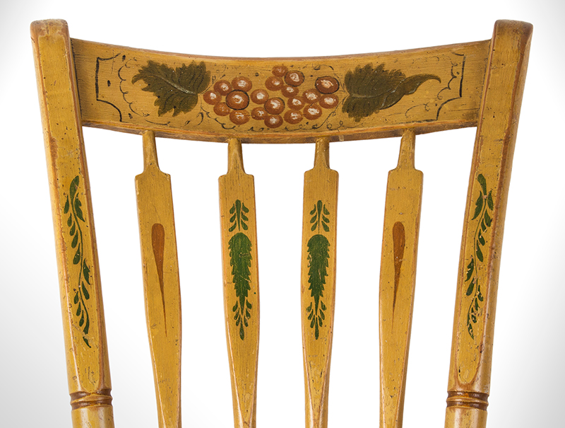 Windsor Chairs, Arrow Back, Original Paint, Set of Five New York, detail view