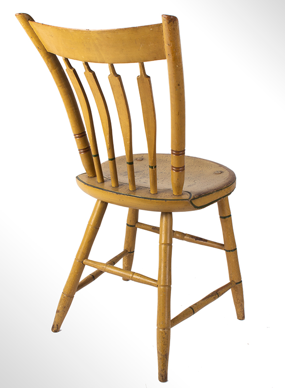 Windsor Chairs, Arrow Back, Original Paint, Set of Five New York, entire view 3