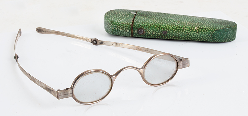 Coin Silver Eyeglasses in Labeled Shagreen Case, John Bleuler, (1756-1829) No. 27 / Ludgate Street / LONDON, entire view