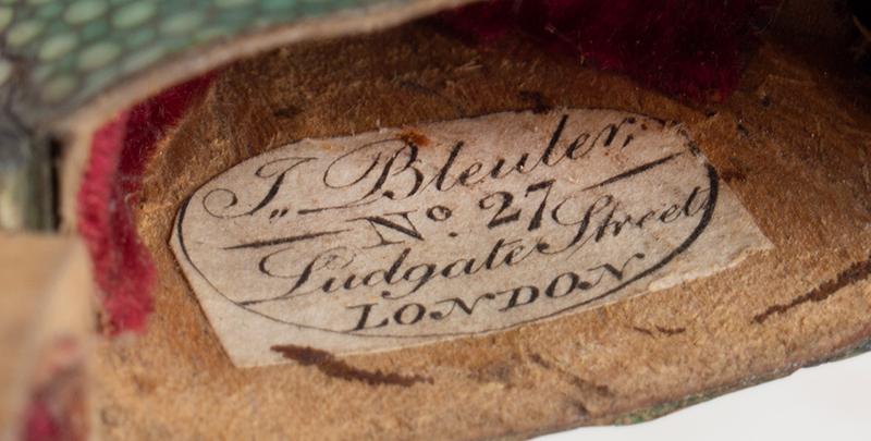 Coin Silver Eyeglasses in Labeled Shagreen Case, John Bleuler, (1756-1829) No. 27 / Ludgate Street / LONDON, lable