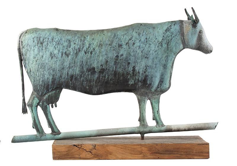 Cow Weathervane, Flattened Full Body, L.W. Cushing & Sons or Cushing & White Waltham, Massachusetts, entire view