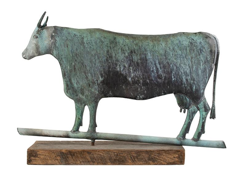 Cow Weathervane, Flattened Full Body, L.W. Cushing & Sons or Cushing & White Waltham, Massachusetts, entire view 2