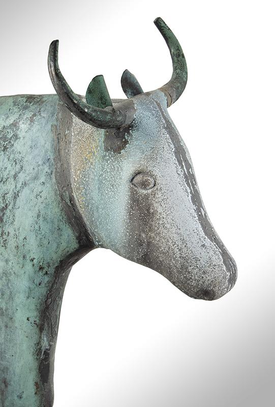 Cow Weathervane, Flattened Full Body, L.W. Cushing & Sons or Cushing & White Waltham, Massachusetts, head view