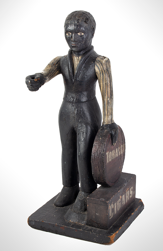 Cigar Store Figure, Countertop Tobacconist Figure, Historic Painted Surface, entire view 2