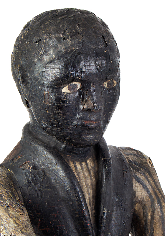Cigar Store Figure, Countertop Tobacconist Figure, Historic Painted Surface, head view 2