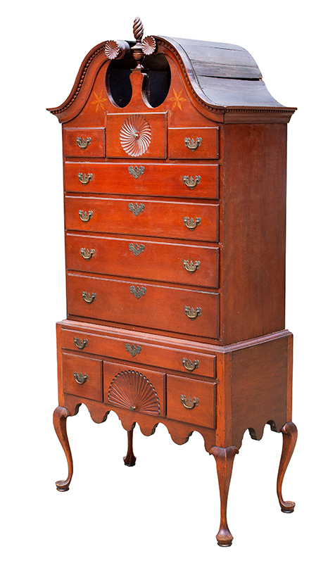 Queen Anne Bonnet Top Highboy, Connecticut River Valley, Original Brasses An Unusually Small Example, entire view