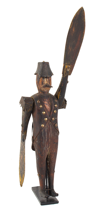 19th C. Whirligig, Mustached Soldier Wearing Tails, Metal Epaulettes, Bicorn Hat Anonymous, entire view