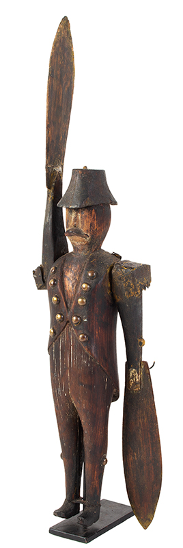 19th C. Whirligig, Mustached Soldier Wearing Tails, Metal Epaulettes, Bicorn Hat Anonymous, entire view 2