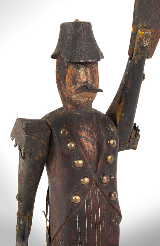 19th C. Whirligig, Mustached Soldier Wearing Tails, Metal Epaulettes, Bicorn Hat Anonymous, detail view