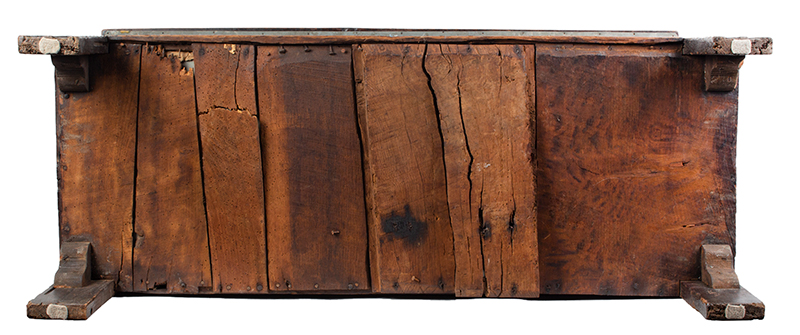 Joined, Carved and Polychromed Coffer, Likely Somerset, or Dorset England, bottom view