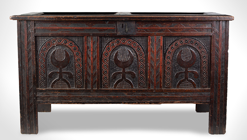 Joined, Carved and Polychromed Coffer, Likely Somerset, or Dorset England, entire view 1