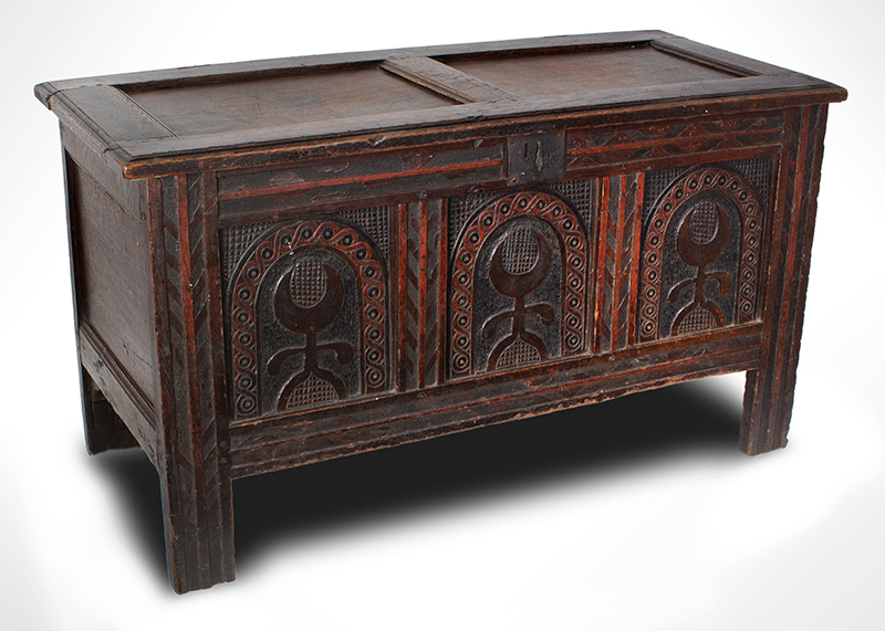 Joined, Carved and Polychromed Coffer, Likely Somerset, or Dorset England, entire view 2