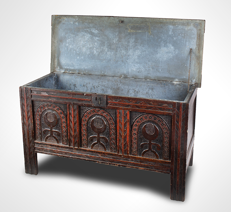 Joined, Carved and Polychromed Coffer, Likely Somerset, or Dorset England, entire view 4